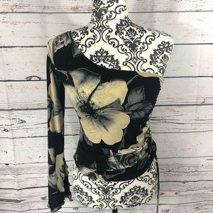 Floral Asymmetrical One Shoulder Long Sleeve Top